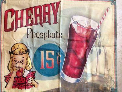 Antique Cherry Phosphate 15 cent Soda Canvas Advertising Banner-very rare