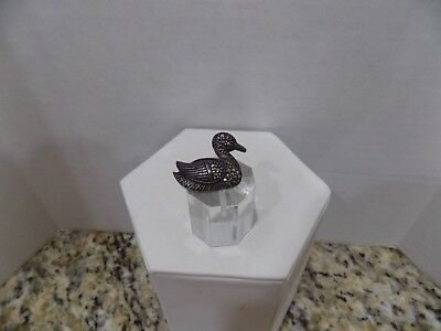 Vintage 925 Sterling Silver Marcasite Gemstone Duck Bird Pin Brooch