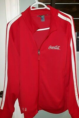 coca cola ECO 1% for the planet zip up red white stripe jacket mens M