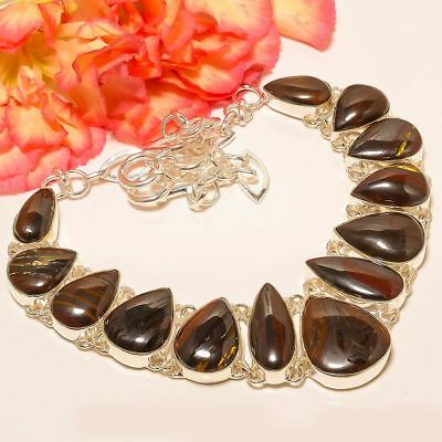 """Red Iron Tiger Eye 925 Sterling Silver Necklace 17.99""""(2336)"""