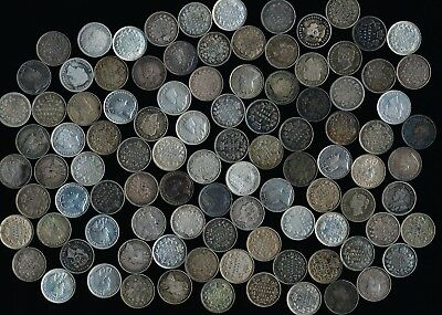 100 CANADA SILVER 5¢ (LATE 1800s to late 1900s) MANY DATES> SEE PICS > NO RSRV