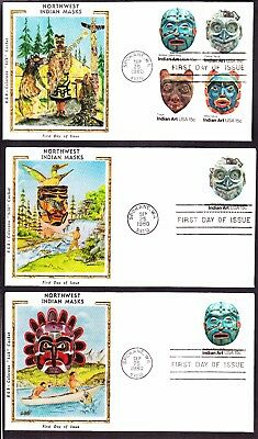 """US 1834-1837 15c NW Indian Masks First Day Covers Lot w/ Colorano """"Silk"""" Cachets"""