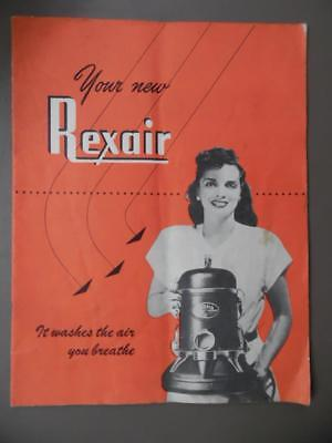 c.1950 REXAIR Vacuum Cleaner Owner Manual Catalog Brochure Vintage Original