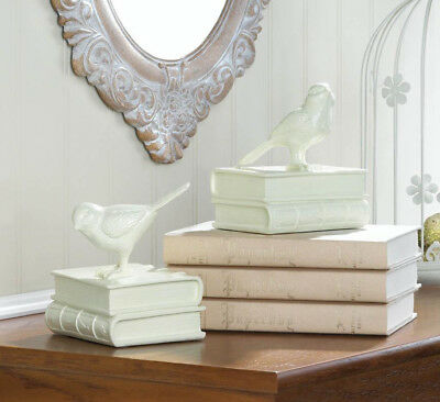 modern white Shabby perched bird BOOKENDS Chic book ends sculpture object statue