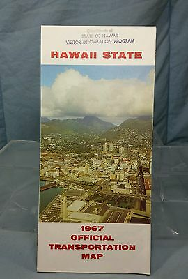 Vintage State of Hawaii Official Transportation Road Highway Map 1967