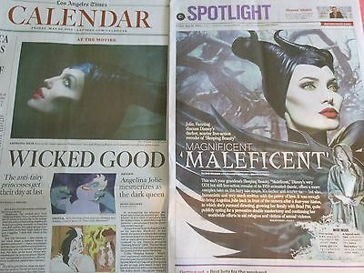 Disney's Magnificent Maleficent Angelina Jolie 2 Newspaper Sections