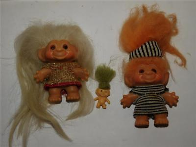 """Lot of 2 Dam Trolls, 2.5"""" Not Including Hair, Plus 1"""" Troll Not Including Hair"""