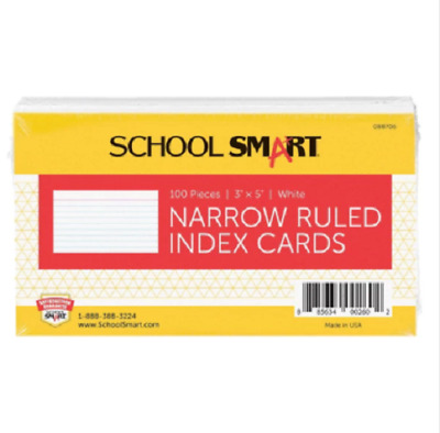 SCSP-088706-School Smart 90# Ruled Index Card, 3 x 5 Inches, White, Pack of 100