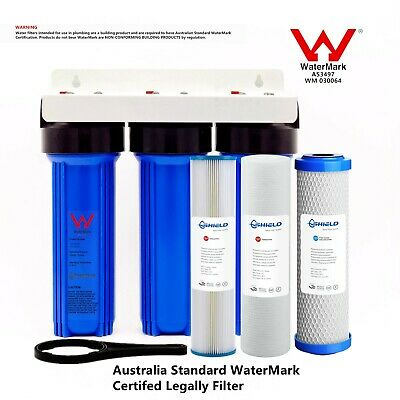 """Whole House Triple 10"""" x 2.5"""" Water Filter System 3 Stages 3/4"""" Brass Port"""