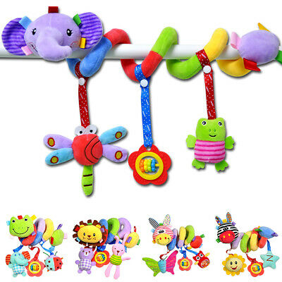 Newborn Baby Cot Bed Musical Soft Plush Animal Spiral Hanging Toy w/ Rattle
