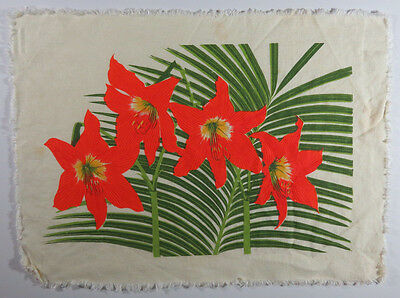 6 Table Placemats Towels Orange Lilies and Green Foliage Tropical Bright Colors