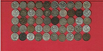 Canada 5 Cents Silver George V Lot Of Fifty (50) Coins 1911-1920