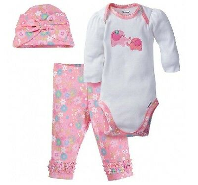 Gerber Baby Girl 3-Piece Elephant Onesies, Hat & Pants Set; Baby Clothes Gift!