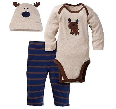 Gerber Baby Boy 3-Piece Tan Moose Onesies, Hat & Pants Set; Baby Clothes Gift!