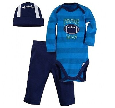 Gerber Baby Boy 3-Piece Blue Football Onesies,Hat & Pants Set; Baby Clothes Gift