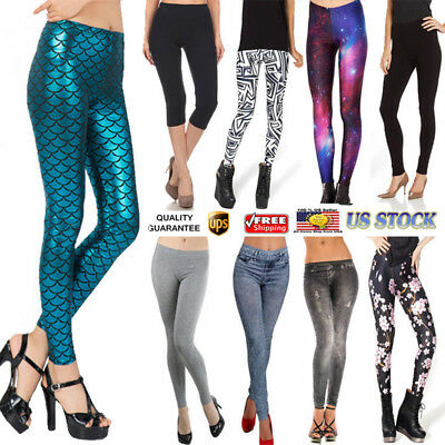 Women Printed Pencil Stretchy Yoga Leggings Gym Stretch Pants Jeans Trousers US