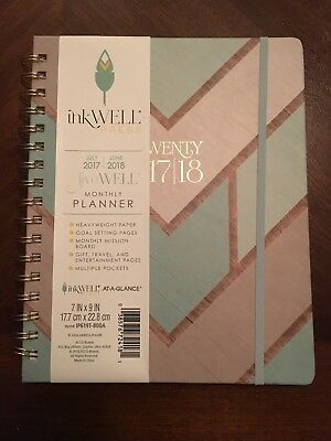 """AT-A-GLANCE inkWELL PRESS Weekly/Monthly Academic 2017-2018 Planner 7"""" x 9"""""""