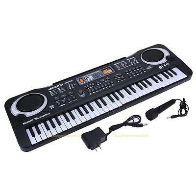 61 Keys Music Electronic Keyboard Kids Electric Piano Organ W/ Mic + Adapter NEW