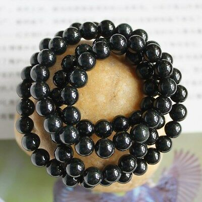 """CERTIFIED Natural (Grade A) Untreated Black JADE Round Bead Necklace 21"""" #N178"""