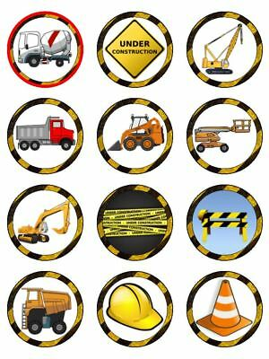 """12 Construction Truck 2"""" Cupcake Edible Icing Image Cake Topper #2"""