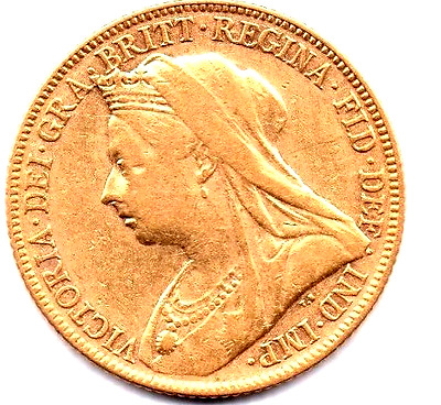 1899 AUSTRALIAN one Sovereign Coin QUEEN VICTORIA M Mintmark