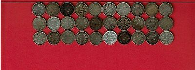 Canada 5 Cents Silver Queen Victoria Lot Of Thirty (30) Coins 1874-1901
