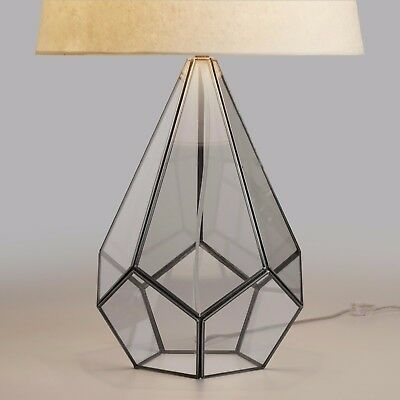 Industrial Mid Century Glass Table Lamp Base in Antique Geometric Fancy Design
