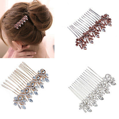 Flower Wedding Hair Pins Bridesmaid Crystal Diamante Pearls Bridal Clips Comb