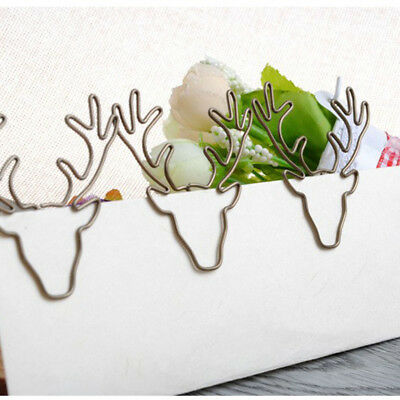 8pcs Vintage Deer Clip Metal Paper Clips Bookmark Pin Office Accessories Gift