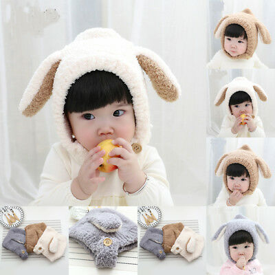 US Stock Baby Toddler Winter Beanie Warm Hat Hooded Scarf Earflap Knitted Cap