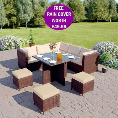 Modular Rattan Garden Furniture Cube Corner Sofa Footstool Dining Table Set