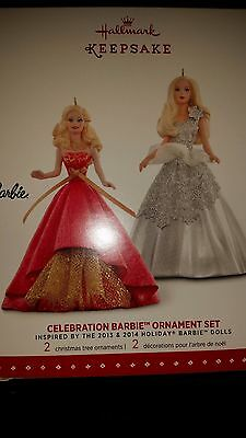 Celebration Barbie 2015 Hallmark Ornament Set  Holiday Barbie 2013  2014 Fashion