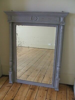 Large Henri ii Style, Hand Painted Column Mirror with Original Foxed Glass