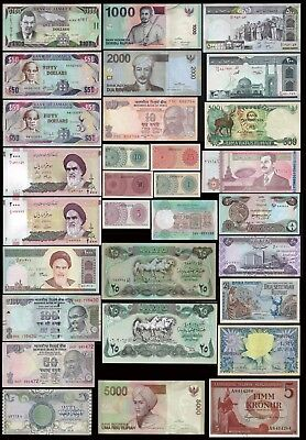 Iceland,Jamaica,India… LOT 30 BANKNOTES 1957-2017 UNC