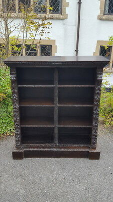 A Stunning Antique Victorian Heavily Carved Oak Bookcase Animal Masks & Foliage