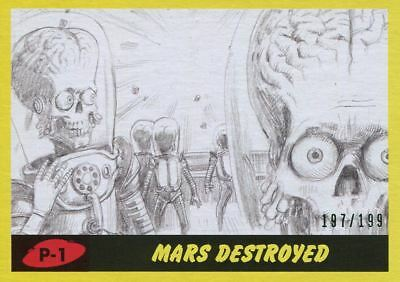 Mars Attacks The Revenge Yellow [199] Pencil Art Base Card P-1 Mars Destroyed