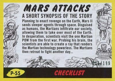 Mars Attacks The Revenge Yellow [199] Pencil Art Base Card P-55 Checklist