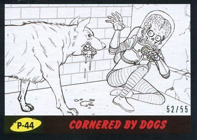 Mars Attacks The Revenge Black [55] Pencil Art Base Card P-44 Cornered by Dogs