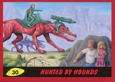 Mars Attacks The Revenge Red [99] Base Card #30 Hunted by Hounds