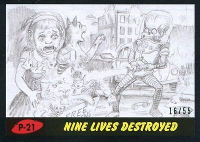 Mars Attacks The Revenge Black [55] Pencil Art Base Card P-21 Nine Lives Destro
