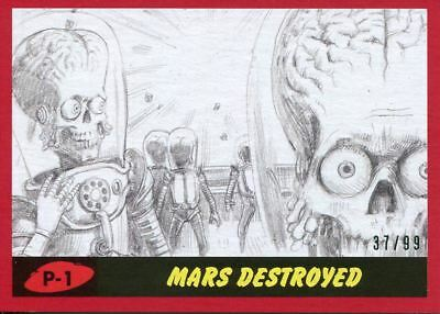 Mars Attacks The Revenge Red [99] Pencil Art Base Card P-1 Mars Destroyed
