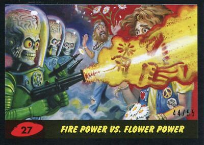 Mars Attacks The Revenge Black [55] Base Card #27 Fire Power vs. Flower Power