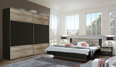 schlafzimmer nora komplett 4 tlg wei anthrazit mit. Black Bedroom Furniture Sets. Home Design Ideas