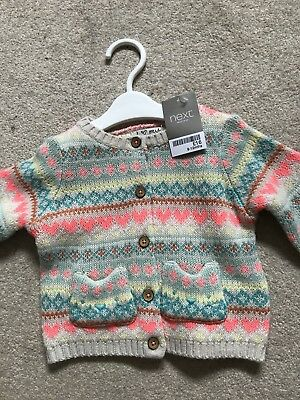 BNWT Next Girls 9-12 months Patterned Thick Cardigan