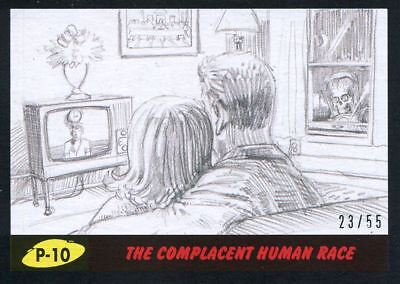 Mars Attacks The Revenge Black [55] Pencil Art Base Card P-10 The Complacent Hu