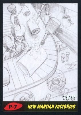 Mars Attacks The Revenge Black [55] Pencil Art Base Card P-7 New Martian Factor