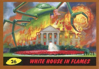 Mars Attacks The Revenge Bronze [25] Base Card #26 White House in Flames
