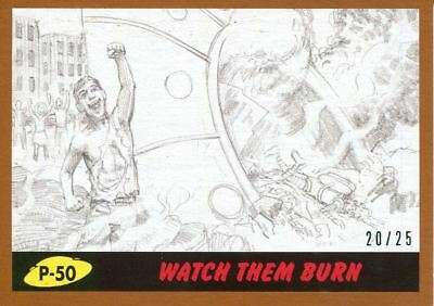 Mars Attacks The Revenge Bronze [25] Pencil Art Base Card P-50 Watch them Burn