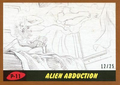 Mars Attacks The Revenge Bronze [25] Pencil Art Base Card P-11 Alien Abduction