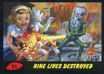 Mars Attacks The Revenge Black [55] Base Card #21 Nine Lives Destroyed